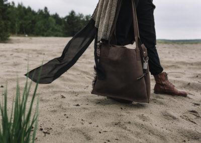 torebka skórzana z wstawką z futra